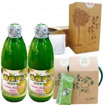 【台灣香檸】香檬原汁(300ml/瓶)X2瓶+香檬茶包(20包/盒)X2盒+香檬隨身包(果汁粉)15包/盒X1盒